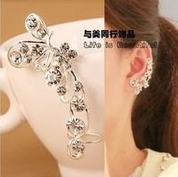 Min. order $15 ) 2014 Luxury artificial crystal long clip earrings for women,Fashion silver plated flower earring jewelry E437