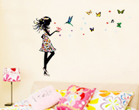 New 2014 Beautiful Girl and Flowers Butterflies Wall Sticker Decor for Girls Kids Room Home Decoration