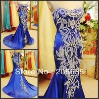 Discount Mermaid Blue SATIN  evening Dresses Rhinestones  On Sale 25% Off  NEWE-0412
