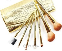 Promotions! 7 Pcs Professional Makeup Brush Cosmetic Brushes with Gold Leather Case Dropshipping Free Shipping