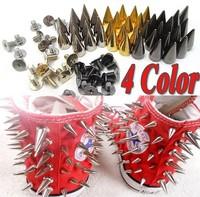 100x 14mm Metal Bullet Spike Stud Punk Bag Belt Clothes Leathercraft Cone Rivet[9901446-9901449]