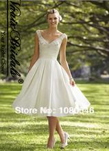 W126 V Neck Straps Pockets A Line Knee Length 2014 Crystal Beaded Wedding Dress Short(China (Mainland))