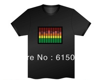 Sound Activated Flashing Neon Color T-Shirt Light Music Party Equalizer unisex LED T-Shirt Free Shipping
