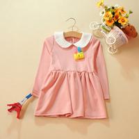 2014spring girl pink lovely Korea style dress 2 layers cute dress children Peter Pan collar dress