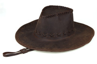 Cowboy hat brown cowhide sunbonnet for outdoor camping hiking Tiding 5016