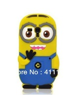 Hot Sale Free Shipping 3D Despicable Me 2 Minions Soft Silicone Back Cover Case for Samsung Galaxy S III S3 mini i8190