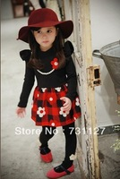Free shipping 1pcs retail 3~11age cotton black white flower cute knee length princess casual girl dress