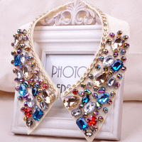 Korea magazine new European and American style fake crystal lace collar necklace colorful fake collar short necklace