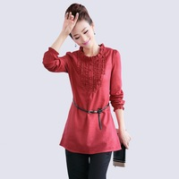 women clothing spring 2014 medium-long shirts blouses plus size loose shirt lace collar fluid long-sleeve shirt women blouses