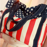 2014 new canvas bag fashion bag national flag bag stripe handbag  women's handbag shopping bag