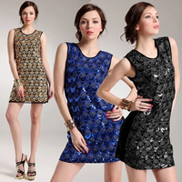 Free Shipping New Arrival Sexy&Club Black/Blue/Gold Slim Fit Paillette Sequin Embroidery Shining Sparkling Mini Dress MYB6010