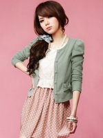 2014 women's sweet hot New tide bowknot pearl clasp open outfit  short coat 2 colors