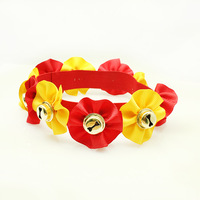 Handmade Pets Accessories Ribbon Flower, Festival Bells Dog Collar (Elastics) Wholesale