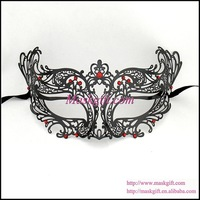 Free Shipping MA003-RBK High Quality Venetian Mask (48 pcs/lot) 100% Venetian Masquerade Mask With Red Crystals Metal Mask