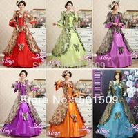 purple/green/red/blue/orange 7color choice medieval dress Renaissance Gown Costume Victorian /Marie Antoinette/ Belle Ball dress