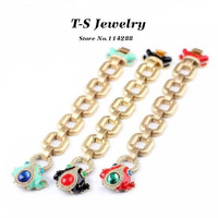 Fashion Glaze Rhinestone Frog Bracelet Women's Blue Red Black Frog Chain Bracelet All-match Jewelry Free Shipping