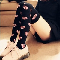 nz213 Free Shopping 1pcs 3color new 2014 Japanese cotton thigh socks/half sock/college stripes knee-high socks