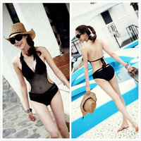 2014 Female Sexy Transparent High Waisted Bandage Swimsuit Women Push Up Black One Piece Bathing Suits Beach Swim Suit Swimwear