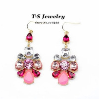 Fashion Pink Acrylic Crystal Flower Drop Earrings Women's Beautiful Flower All-match Earrings Jewelry Free Shipping