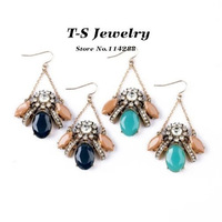 2014 New Acrylic Insect Drop Earrings Women Light Blue Dark Blue Earrings Fashion Jewelry  Free Shipping