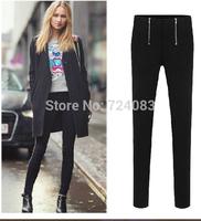NEW 2014 women's fashion pants leggings SIZE S-XXL spring thin pencil pants black zipper  legging trousers casual female