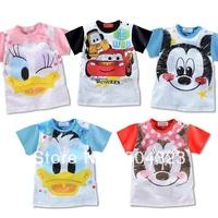 Free Shipping 5pcs/lot Hot cheaper Kids boys girls Minnie Mickey T shirts hoodies baby boys girls t shirt kids clothes wholesale