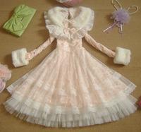 Spring Winter 2014 Lovley Chiffon Lolita Dresses Fur Sleeve Peter Pan Collar Lace Dress Princess Sweet Pink Bow Dress