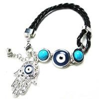New  handmade knitted evil eye hamsa charm bracelet , Black /Brown leather charm bracelet