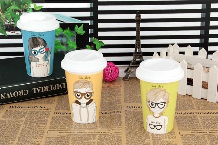Karakter karikatür erkek kız seramik kupa silikon kapak kupa kahve