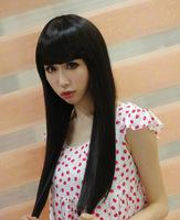Charming women's fashion new style  long straight dull lace  neat bang wigs