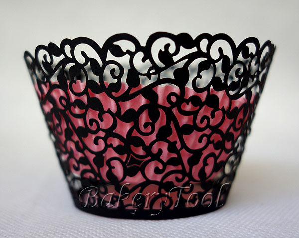 24 pcs cupcake wrappers paper baking trays paper bags for sale cupcake supplies with black shivering patterns(China (Mainland))