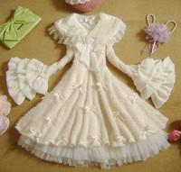 Spring Winter 2014 Cute Lolita Dresses Ruffles Flare Sleeve Lace Patchwork Dress Princess Sweet Bows Dress Fur Collar