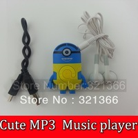 20pcs  Cute Despicable Me Minion style MP3 player+USB+Earphone Mini Rechargeable MP3 W/TF card SlotCrystal Box