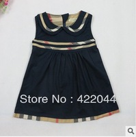 Free shipping 2014 new sumer girls vest dress,checkered pattern of Scotland cute girls dress   5pcs/lot