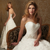 2014  fashion princess sweet wedding brief  train bride Strapless bandage wedding dress women dress can customize DX