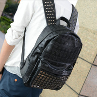 PUNK Skull Heads Rivet Clinch Preppy Style Backpack Shoulders Bag Women Grils or men shoulder bag skull bag brand Free Shipping