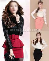 New Stylish Womens Falbala Lace Splicing Peplum Slim Long Sleeve Mini Dress Hot