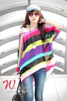 Wholesale  2014 Spring Summer Blouse New Fashion Chiffon Blouses Shirts Women Floral Stripe Casual Batwing Top Bohemian