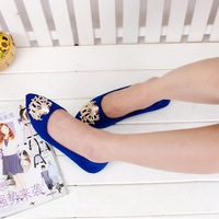 Free delivery for 2014 years the new female metal decoration fashion Rhinestone soft bottom shoes shoes