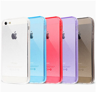 New Arrival 2014 Mobile Phone Bag Case For Iphone 5 5s Clear Cover Candy Color Hot Sale