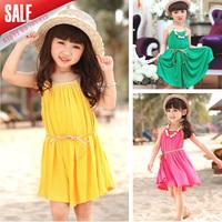 New 2014 summer girl fashion dress children outerwear bohemian beach leisure baby dresses for kids 5pcs/lot  Free shipping A015