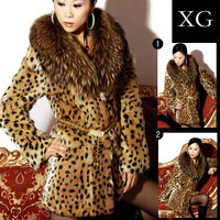 Classic large raccoon fur rabbit fur leopard print fur coat overcoat women's