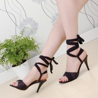 Princess shoes high heel open toe bandage women's sandals dance shoes sexy plus size small
