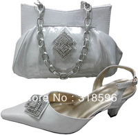 High quality elegant shoes with matching bags SILVER color with free shipping size 38 to 42