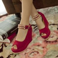 Open toe sandals high-heeled shoes wedges shoes four seasons bandage hasp platform women's shoes princess shoes