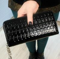 2014 NEW Skull patent leather embossed long section zipper purse wallet women wallet lady purse Wholesale/Retail clutch wallets