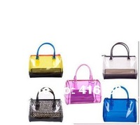 2014 new wave of Korean version of the candy bag hit the color transparent jelly handbag handbag hand bag promotion