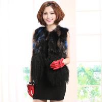 Autumn female 2014 raccoon fur vest fur coat women vest beach wool sweep Y5P1