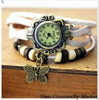 7 Colors Original Fashion High Quality Women Genuine Leather strap Vintage Watches,Bracelet Wristwatches butterfly Pendant