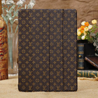 Newest Luxury Floret Grid Ultra Slim Four Folding Leather Case Smart Cover Stand for Apple New iPad 5 iPad Air Free Shipping